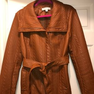 New York & Co faux leather brown jacket coat